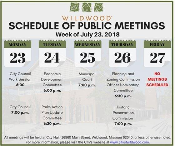 City of Wildwood - Public Meeting Schedule - Week of July 23, 2018