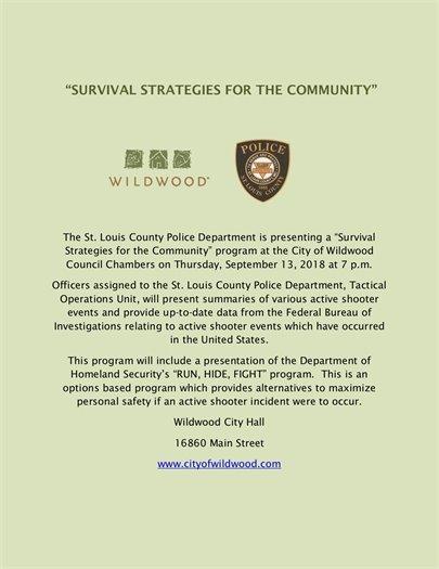 Survival Strategies for the Community - September13, 2018