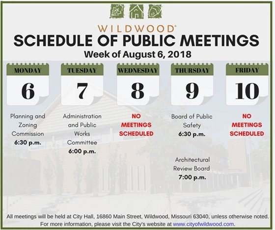 Schedule of the Public Meetings for the City of Wildwood - Week of August 6th