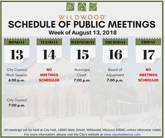 City of Wildwood Public Meeting Schedule for the Week of August 13, 2018