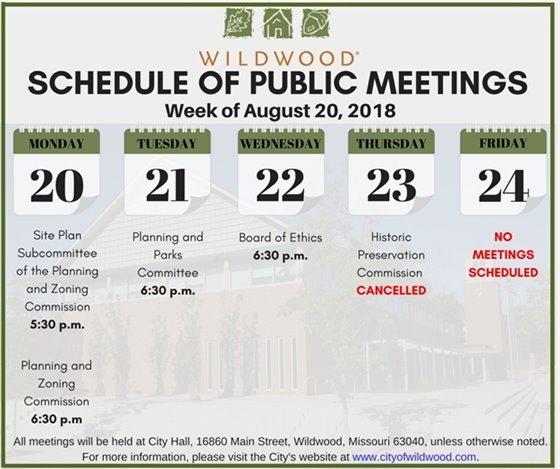 Schedule of Wildwood Public Meetings for the Week of August 20, 2018