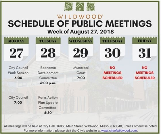 Schedule of Public Meetings for the Week of August 27, 2018