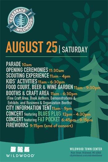 Schedule of Activities for Celebrate Wildwood - August 25, 2018