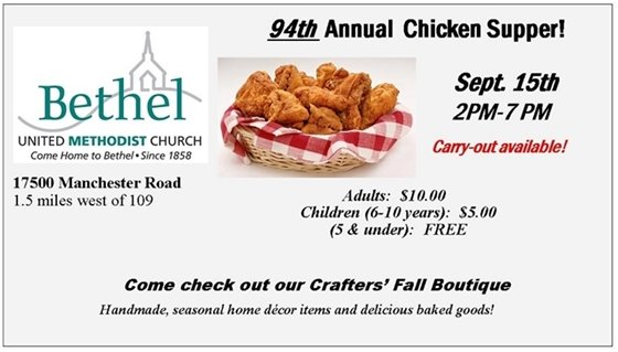 Bethel United Methodist Church's 94th Annual Chicken Supper