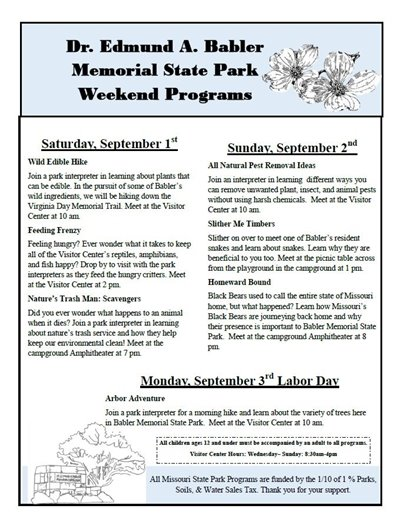 Babler State Park Activities - Labor Day Weekend