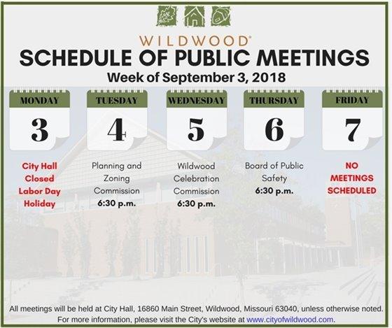 Schedule of Meetings for the Week of September 3, 2018 - City of Wildwood