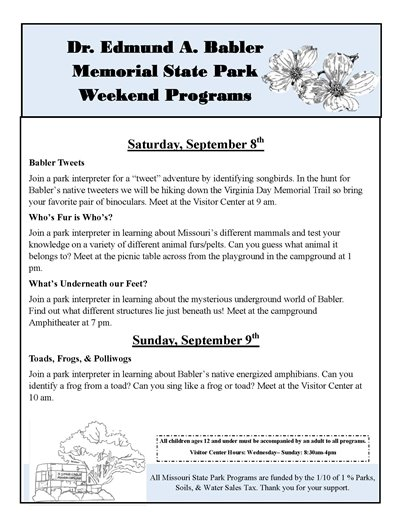 Babler State Park - Planned Activities for September 8 and 9, 2018