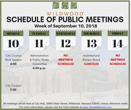 City of Wildwood Public Meeting Schedule for the week of September 10, 2018