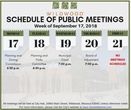 City of Wildwood's Schedule of Public Meetings for the Week of September 17, 2018