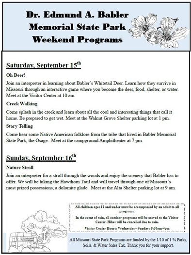 Babler State Park Programming for this Weekend - September 15 and 16, 2018