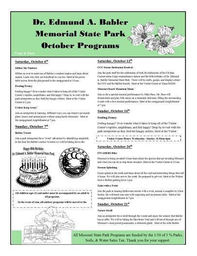Babler State Park - October 2018 Programming