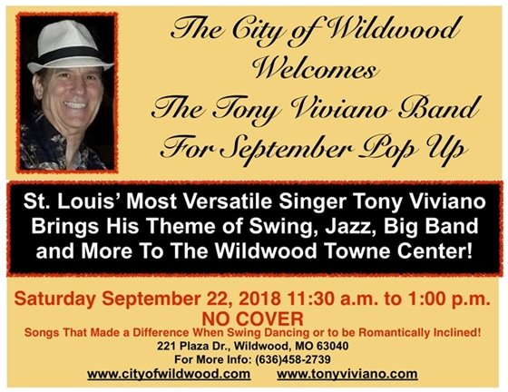 Pop Up Event on September 22, 2018, Featuring the Tony Viviano Band