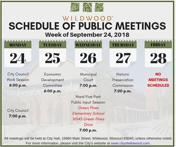 Schedule of Public Meetings for the City of Wildwood - Week of September 24, 2018