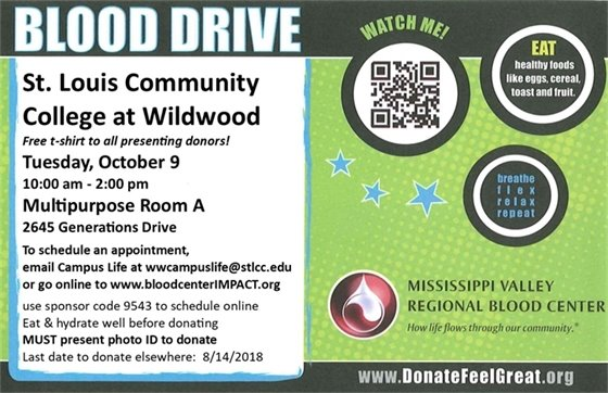 Blood Drive @ St. Louis Community College - Wildwood - October 9, 2018