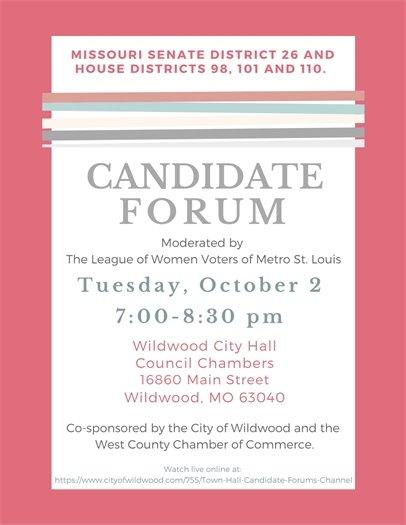 Candidate Forum - October 2, 2018 @ Wildwood City Hall