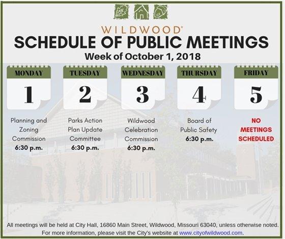 City of Wildwood Meeting Schedule for the Week of October 1, 2018