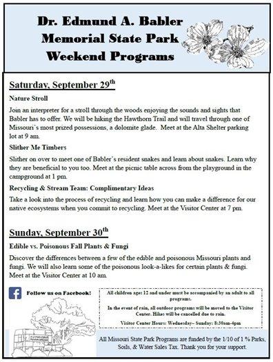 Babler State Park Programs for September 29 and 30, 2018