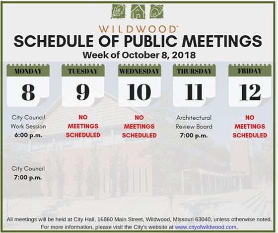 f57a7664bdd City of Wildwood Meeting Schedule for the Week of October 8, 2018