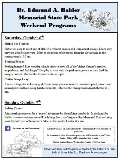 Babler State Park - Programs this Weekend - October 6 and 7, 2018