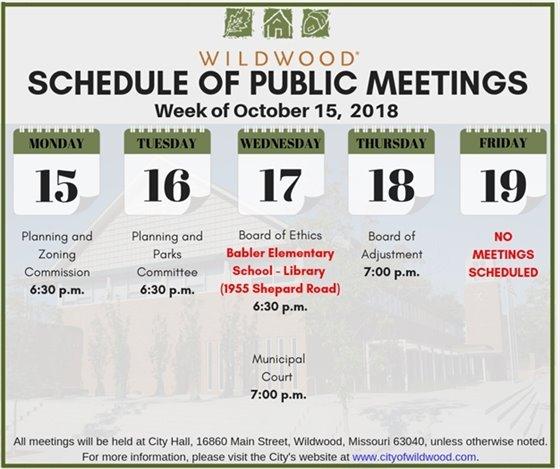 City of Wildwood - Schedule of Public Meetings - Week of October 15, 2018
