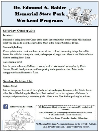 Babler State Park Events - Weekend of October 20 and 21, 2018 - Come on Out