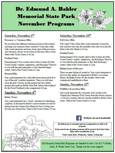 Babler State Park - November 2018 Programs