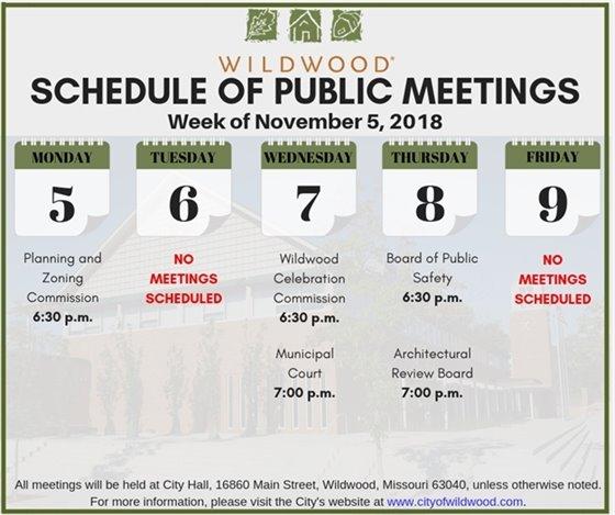 City of Wildwood Schedule of Public Meetings for the Week of November 5, 2018