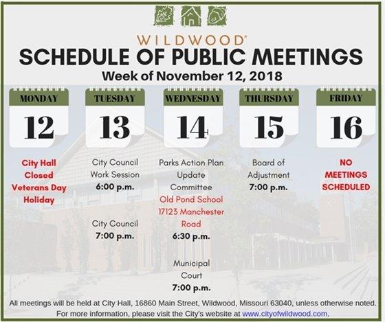 Schedule of Public Meetings - Week of November 12, 2018