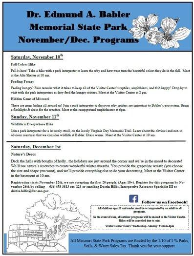 Babler State Park - November and December 2018 Programming