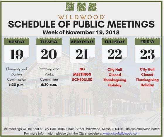 City of Wildwood Schedule of Public Meetings - Week of November 19, 2018