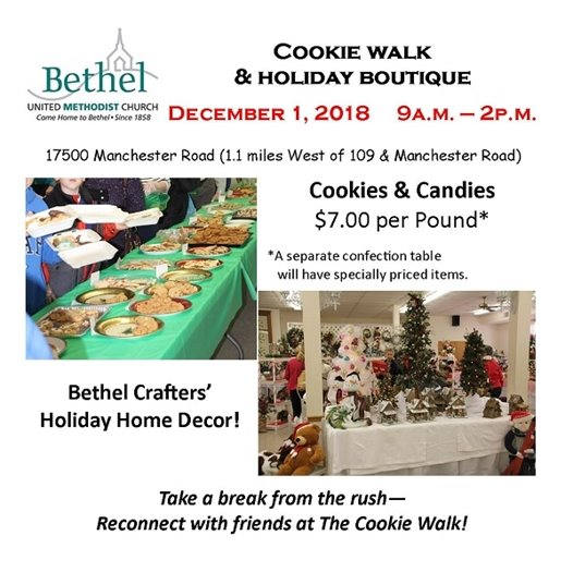 Bethel United Methodist Church - December 1, 2018 - Cookie Walk and Holiday Boutique