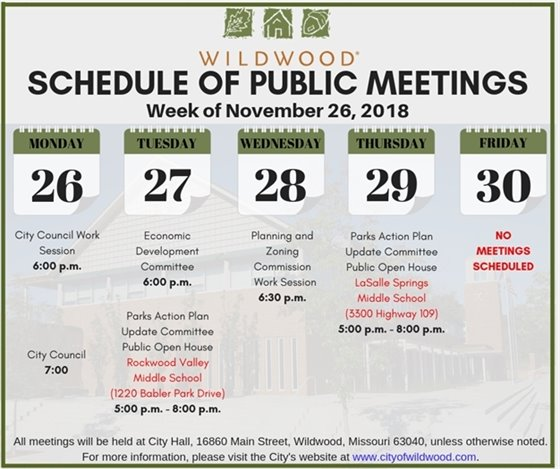 City of Wildwood Meeting Schedule for the Week of November 26, 2018