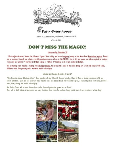 Fahr Greenhouse - Don't Miss the Magic - December 1 and 2, 2018
