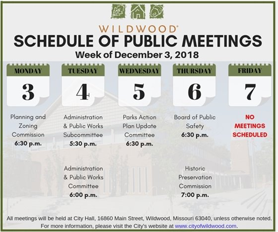 Schedule of Public Meetings of the City of Wildwood - Week of December 3, 2018