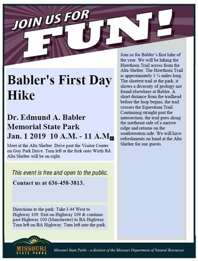 Babler State Park's First Day Hike - January 1, 2019 - 10:00 a.m.