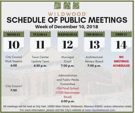 Schedule of Public Meetings - City of Wildwood - Week of December 10, 2018