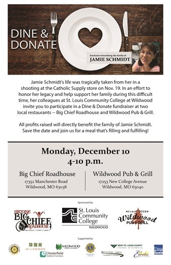 Dine and Donate - December 10, 2018, from 4pm to 10:00pm - Helping the Family of Jamie Schmidt