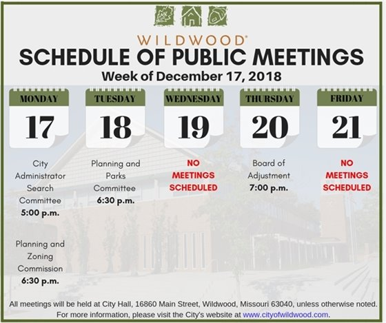City of Wildwood Schedule of Meetings for the Week of December 17, 2018
