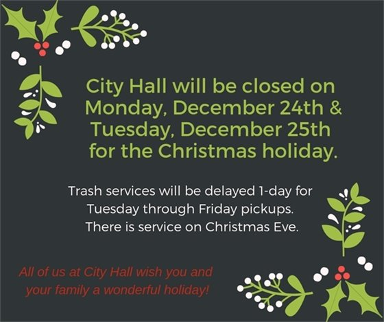 Notice of Closing for the Holidays - City of Wildwood