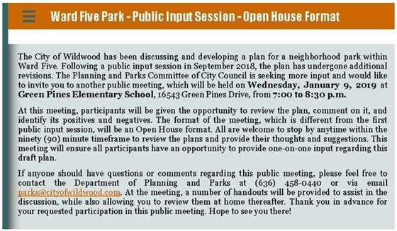 Ward Five Open House on Neighborhood Park Design Components - January 9, 2019