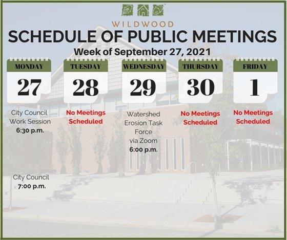 City of Wildwood - Schedule of Meetings for the Week of September 24, 2021