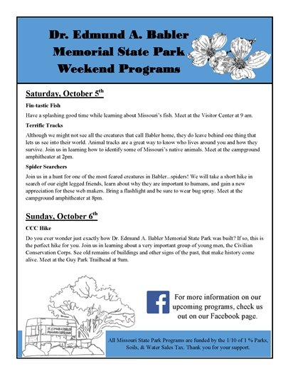 Babler State Park - Weekend Events - October 5 and 6, 2019