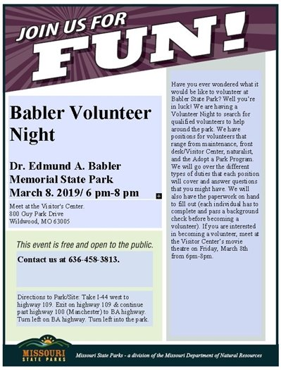 Babler State Park Volunteer Night - March 8, 2019