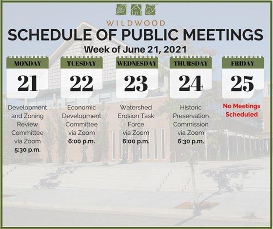 City of Wildwood - Schedule of Meetings for the Week of June 21, 2021