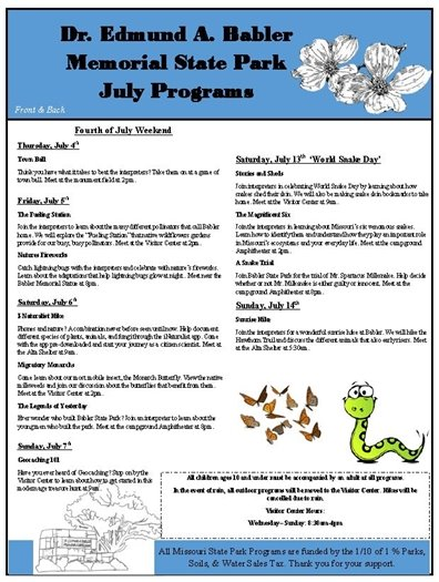 Babler State Park - Schedule of July 2019 Programs