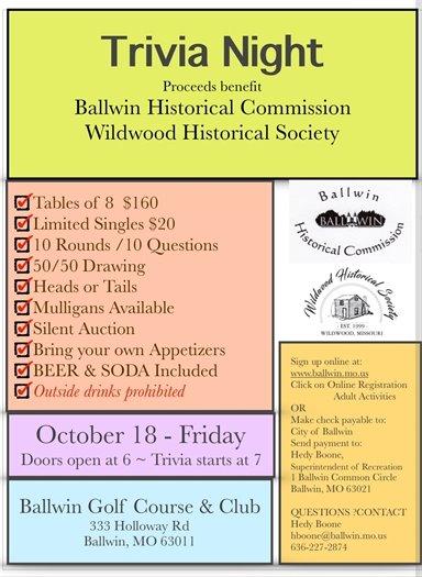 Ballwin and Wildwood Historical Societies' Trivia Night - October 18, 2019