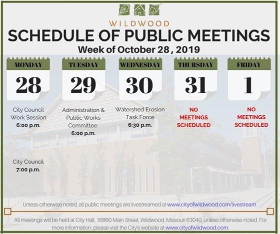 City of Wildwood - Schedule of Meetings for the Week of October 28, 2019