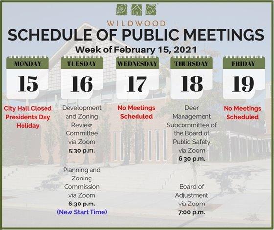 City of Wildwood - Schedule of Meetings for the Week of February 15, 2021