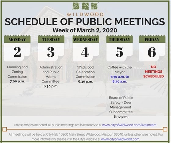 Schedule of Meetings for the City of Wildwood - Week of March 2, 2020