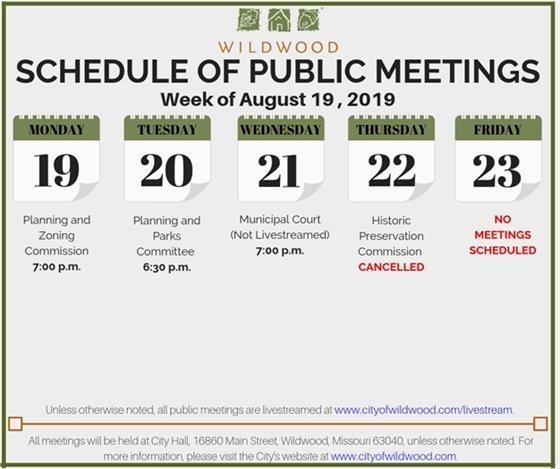 City of Wildwood Schedule of Meetings for the Week of August 19, 2019